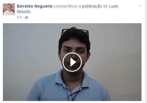 Após divulgação, Edvaldo Nogueira compartilhou o vídeo do suposto ator.